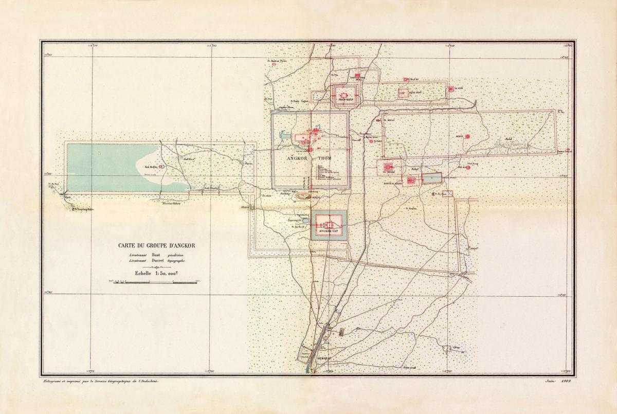Carte du groupe d'Angkor